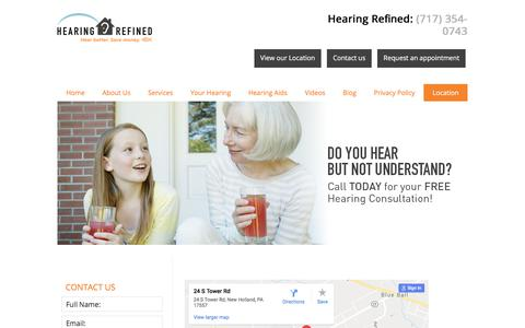 Screenshot of Contact Page Locations Page hearingrefined.com - Hearing Refined - Find a Location Near You - captured July 12, 2018