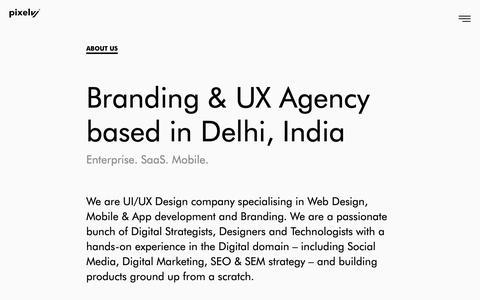 Screenshot of About Page pixelvj.com - Branding & UX Agency | UI UX Design | Mobile Apps - captured Sept. 28, 2018