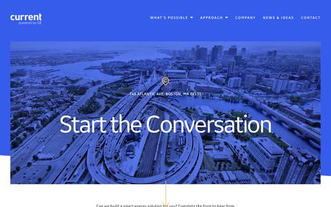 Screenshot of Contact Page currentbyge.com - Start the Conversation - captured May 4, 2017