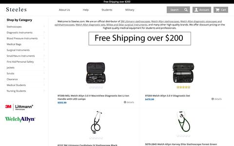 Screenshot of Home Page steeles.com - Welcome to Steeles.com - Discount supplier of Welch Allyn Diagnostic Sets and Littmann Stethoscopes. | Steeles.com - captured Oct. 25, 2017