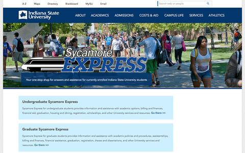 Screenshot of Services Page indstate.edu - Sycamore Express | Indiana State University - captured Feb. 10, 2016