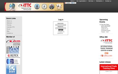 Screenshot of Login Page international-trade-training.net - Consultation Contacts Monde inc. | Surpassez vos frontières | Log In - captured Oct. 6, 2014