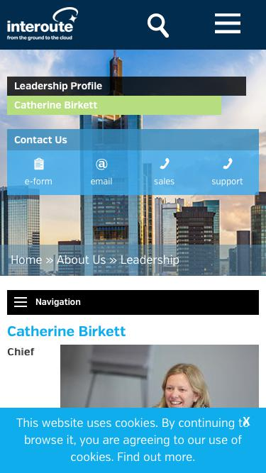 Screenshot of Team Page  interoute.com - Catherine Birkett | Chief Financial Officer | Interoute