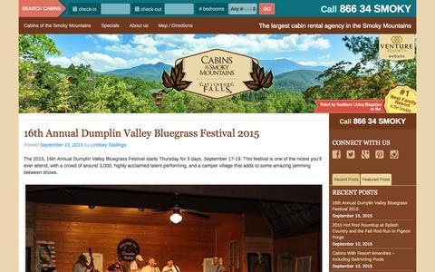 Screenshot of Blog cabinsofthesmokymountains.com - Gatlinburg / Pigeon Forge Events - Plan Your Getaway - captured Sept. 23, 2015