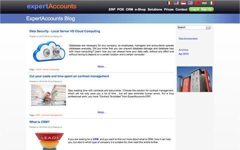 Screenshot of Blog expertaccounts.com - ExpertAccounts.com - Cloud computing ERP, CRM, POS, e-Shop - captured July 18, 2016