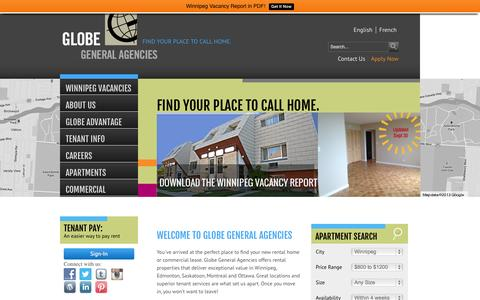 Screenshot of Home Page globegeneral.ca - Find your place to call home. - Winnipeg Apartments for Rent - captured Oct. 2, 2014