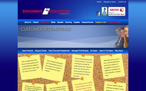 Screenshot of Testimonials Page documentsolutionsinc.net - Testimonials - captured Oct. 5, 2014