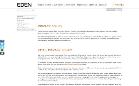 Screenshot of Privacy Page edenoffice.co.nz - Privacy Policy | Eden Office - captured Oct. 25, 2016