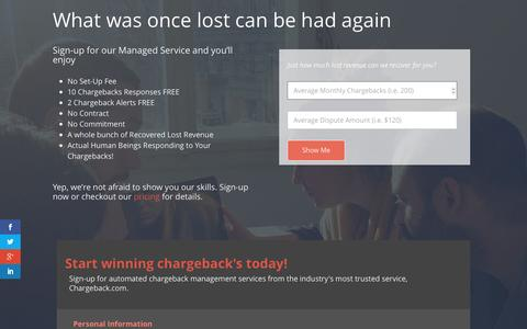 Screenshot of Signup Page chargeback.com - Sign-Up for Managed Chargeback Response Service - captured Jan. 19, 2016