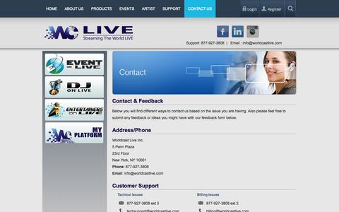 Screenshot of Contact Page worldcastlive.com - Contact Worldcast LIVE For Information on Live Streaming Or Assistance Getting Setup - captured Sept. 17, 2014