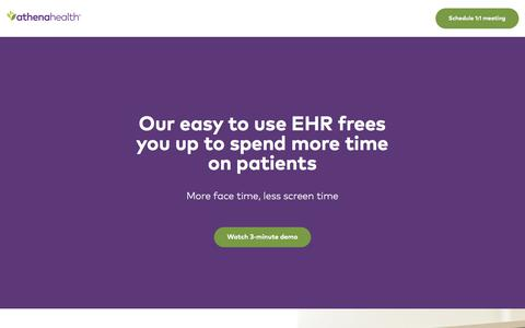 Screenshot of Landing Page athenahealth.com - athenaClinicals® | athenahealth - captured April 13, 2018