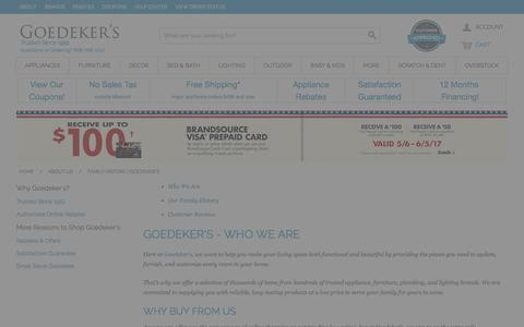 Screenshot of About Page goedekers.com - Family History | Goedeker's - captured May 21, 2017