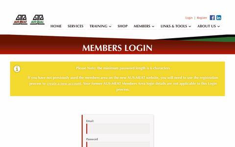 Screenshot of Login Page ausmeat.com.au - Members Login   AUS-MEAT - captured Feb. 11, 2018