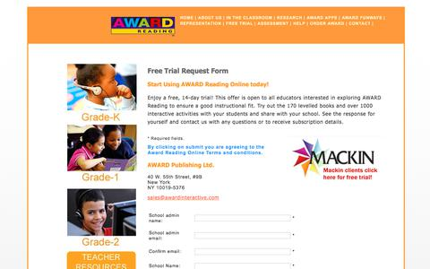 Screenshot of Trial Page awardreadingonline.com - AWARD Reading Online - In The Classroom - captured Oct. 9, 2017
