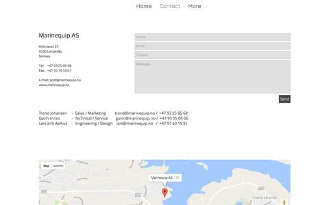 Screenshot of Contact Page marinequip.no - Marinequip™ | Creating Visual Solutions | Contact - captured May 26, 2017