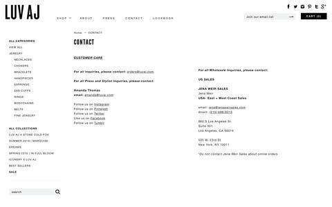 Screenshot of Contact Page luvaj.com - CONTACT | Luv Aj - captured July 19, 2016