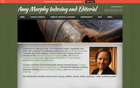 Screenshot of About Page murphyindexing.com - About Amy - Amy Murphy Indexing and Editorial - captured Oct. 4, 2014