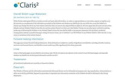Screenshot of Terms Page claris2.com - Legal — Claris2 - captured May 18, 2017