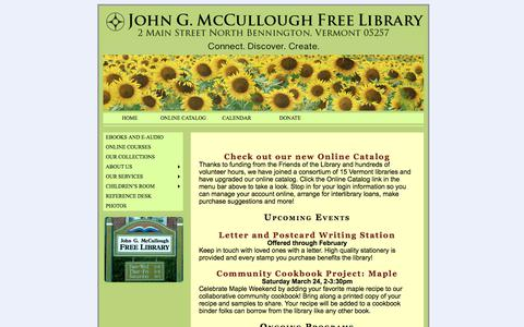 Screenshot of Home Page mcculloughlibrary.org - John G. McCullough Free Library |  Connect. Discover. Create. - captured March 5, 2018