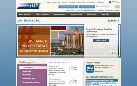 Screenshot of Home Page rmahq.org - Enterprise Risk Management | Risk Management Association - captured Sept. 23, 2014