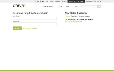 Screenshot of Login Page chive.com - Log In | Chive - captured Sept. 19, 2014