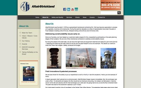 Screenshot of About Page altairstrickland.com - Industrial Engineering Company & Project Planning | AltairStrickland - captured May 29, 2017