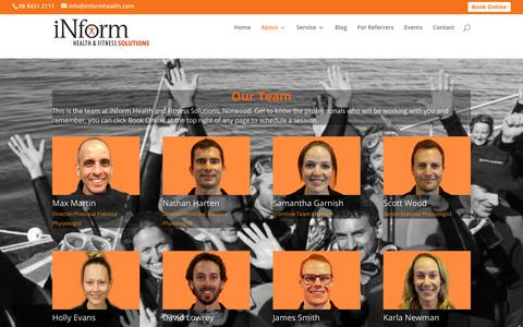 Screenshot of Team Page informhealth.com - Meet iNform Health and Fitness TEAM of exercise professionals - captured Oct. 16, 2017