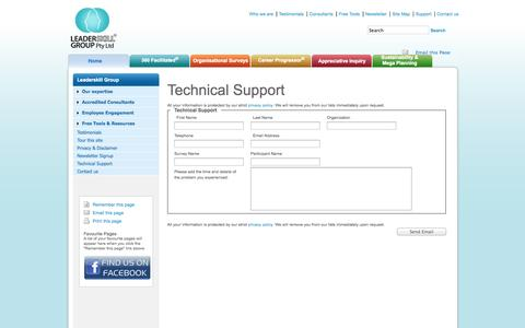 Screenshot of Support Page 360facilitated.com - Leaderskill Group Technical Support - Leaderskill - captured Oct. 2, 2014
