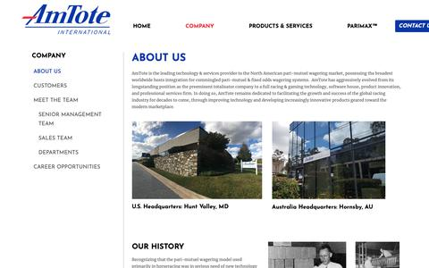 Screenshot of About Page amtote.com - About Us | AmTote International - captured Oct. 3, 2018