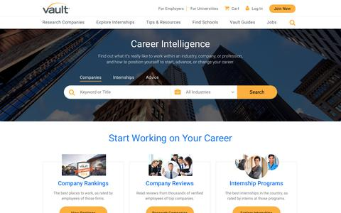 Screenshot of Home Page vault.com - Vault.com – Career Advice and an inside look at companies, internships and more. - captured March 12, 2018