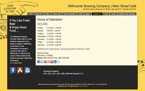 Screenshot of Hours Page willibrew.com - Willimantic Brewing Company & Main Street Cafe | CT Restaurant | Hours - captured Oct. 27, 2017