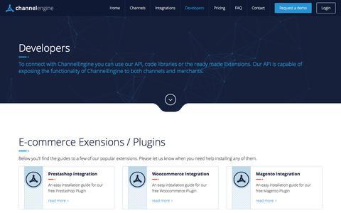 Screenshot of Developers Page channelengine.com - Developers - Marketplace E-Commerce Integration - captured July 24, 2017