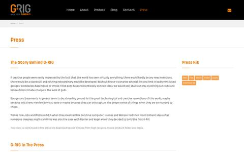 Screenshot of Press Page g-rig.com - Press - G-RIG Solid State Gimbals - captured Oct. 1, 2014