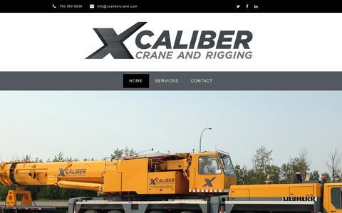 Screenshot of Home Page xcalibercrane.com - Xcaliber Crane and Rigging – Western Canada's Crane Company - captured June 18, 2019