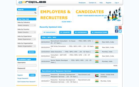 Screenshot of Home Page dprofiles.com - On dProfiles, you matter more than your CV. The Right place for Real Jobs. - DProfiles - captured Oct. 8, 2018