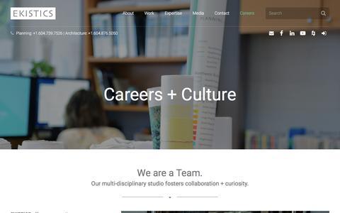 Screenshot of Jobs Page ekistics.com - Careers + Culture - EKISTICS - captured Nov. 28, 2017