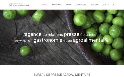 Screenshot of Home Page bureaudepresseagro.com - Bureau de Presse Agroalimentaire | L'agence de relations presse épicurieuse, experte en gastronomie et en agroalimentaire - captured Sept. 13, 2015