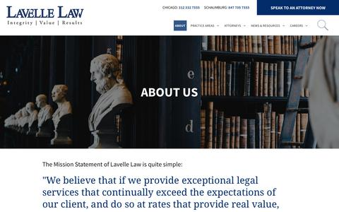 Screenshot of About Page lavellelaw.com - About | Lavelle Law | Chicago & Schaumburg, IL Law Firm - captured Oct. 27, 2018
