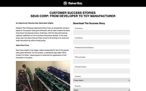 Screenshot of Landing Page makerbot.com captured Oct. 28, 2016