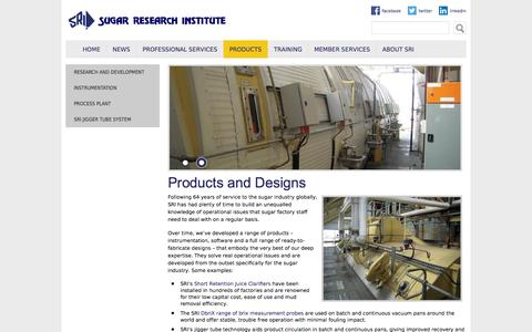 Screenshot of Products Page sri.org.au - Products and Designs | Sugar Research Institute - captured Oct. 7, 2014