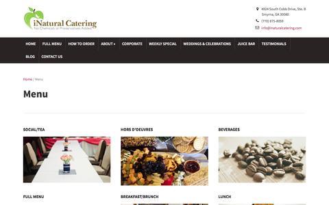 Screenshot of Menu Page inaturalcatering.com - iNatural Catering – Menu - captured Feb. 9, 2016