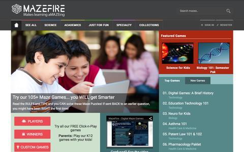 Screenshot of Home Page mazefire.com - MazeFire - Digital Maze Games - captured March 15, 2016