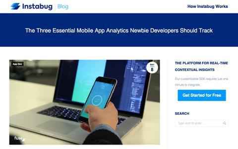 Screenshot of Developers Page instabug.com - The Three Essential Mobile App Analytics Newbie Developers Should Track | Instabug Blog - captured Dec. 3, 2019