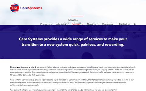 Screenshot of Services Page caresystemsinc.com - Services – Care Systems - captured July 16, 2018