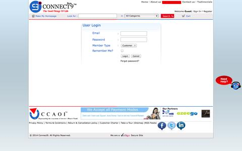 Screenshot of Login Page connect9.in - Jewellery Stores Online,Laptops and Tablets,The Best Tablet - captured Oct. 6, 2014