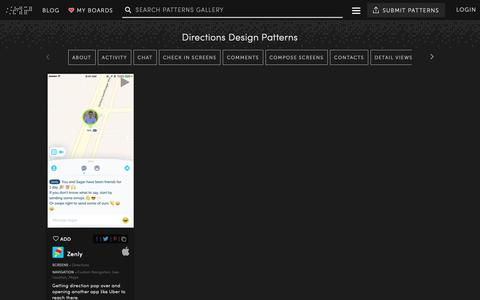 Screenshot of Maps & Directions Page mobile-patterns.com - Directions - UI UX Design Patterns :: Mobile Patterns - captured Nov. 23, 2018