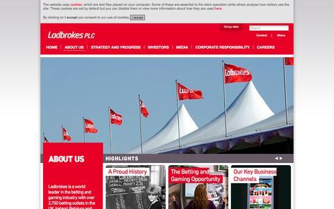Screenshot of About Page ladbrokesplc.com - About Us – Ladbrokes plc - captured Jan. 24, 2016