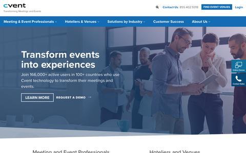 Screenshot of Home Page cvent.com - Event Management Software & Hospitality Solutions | Cvent - captured June 13, 2017