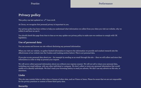 Screenshot of Privacy Page circuslondon.com - Privacy Policy   Circus - captured Sept. 28, 2018