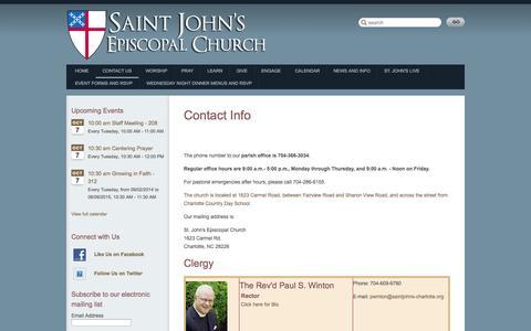 Screenshot of Contact Page saintjohns-charlotte.org - St. John's Episcopal Church || Charlotte     › Contact Info - captured Oct. 7, 2014